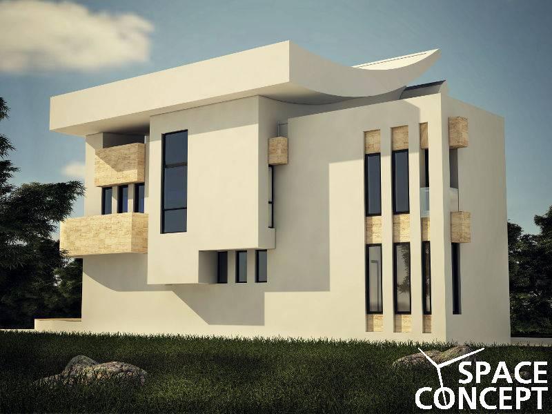 Casa moderna parter etaj terasa space concept for Casa moderna pianta