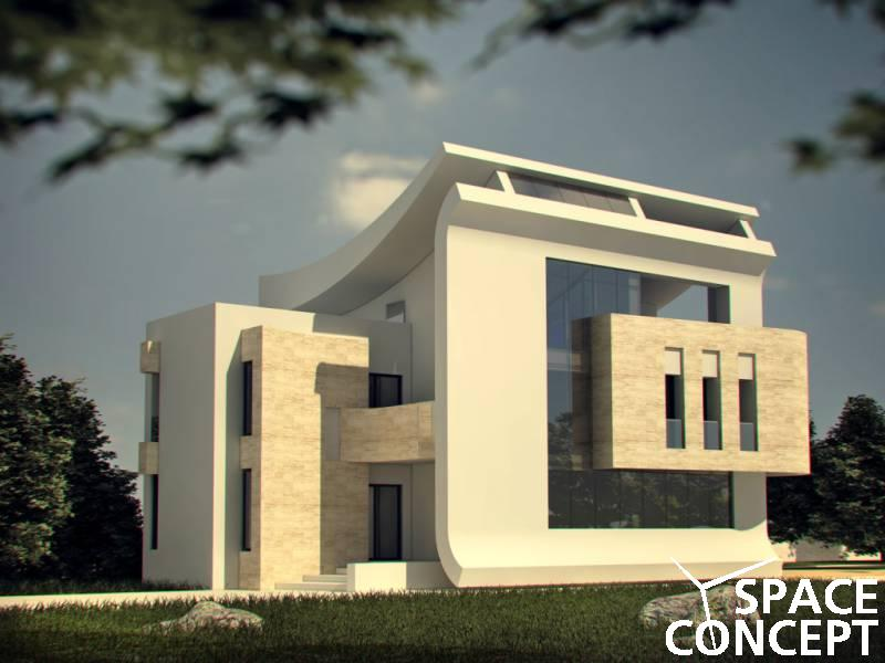 Casa moderna parter etaj terasa space concept for Arhitectura case cu mansarda