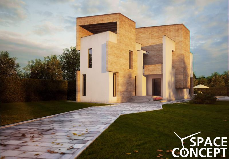 Proiect casa moderna cu terasa si piscina space concept for Imagini case moderne