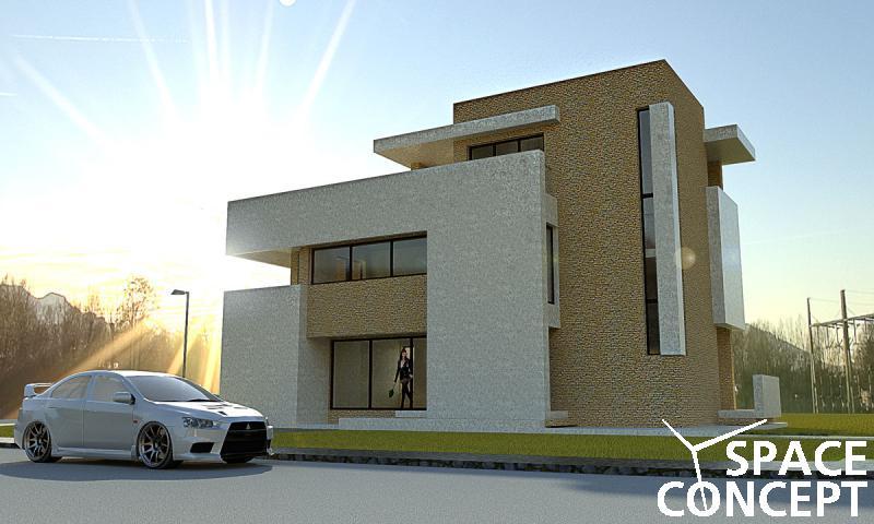 Proiect casa moderna cu terasa space concept for Imagini case moderne